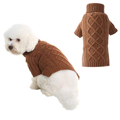 PUPTECK Classic Cable Knit Dog Sweater - Pet Turtleneck Coat Puppy Winter Clothes 2 Colors Brown Small
