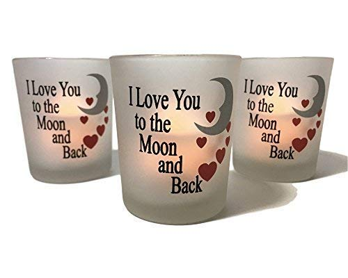 BANBERRY DESIGNS Frosted Glass Votive Holders -I Love You to The Moon & Back - Red Hearts & Silver Moon - Set of 3 - Three Flame-Less Flickering LED Votive Candles Included