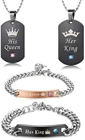 530da78221 LOYALLOOK Couples Necklaces Bracelets Set for Him and Her,His Queen Her  King Couples Jewelry