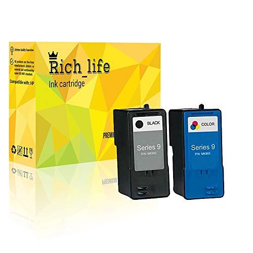 Rich_life Remanufactured Dell 9 Ink Cartridge Replacement for Dell MK992 MK993 V305w V305 926 Printer 2 Pack (1 Black, 1 Color)