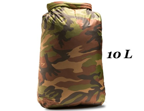 Aqua-Quest 'Nautica' Waterproof Dry Bag Sack – 10L / 600 cu. in. – Camo Army Camouflage Model, Outdoor Stuffs