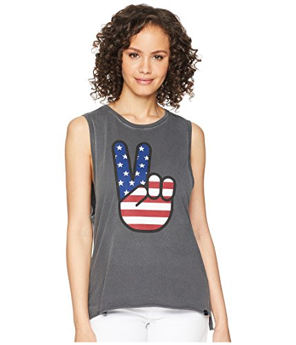 Hurley Women's Apparel Women's America' USA Pigment Washed Peace Sign Tank Top, Anthracite, X-Large