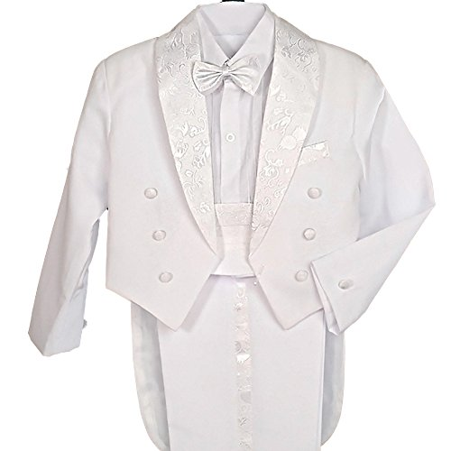 Dressy Daisy Boys' Classic Tuxedo w/Tail First Communion Dress Suit 5 Pcs Set Formal Suits Wedding Outfit Size 8 White -