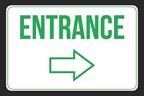 Entrance Right Arrow White Black Green Print Notice Customer Employee Business Store Horizontal Door Sign