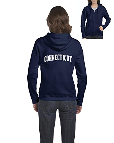 Ugo CT Connecticut Map Flag Bridgeport Home of State University Yale Hartford Full-Zip Women's Hoodie - Bridgeport Shops Village