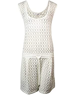 Women's Belted Crochet Lace Romper Swim Cover