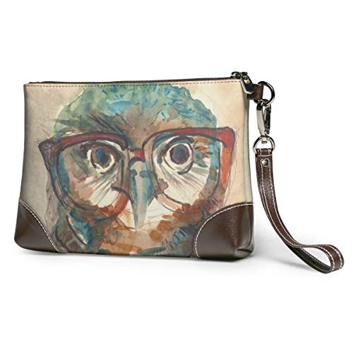 Women's Leather Zipper Wristlet Funny Owl With Big Eyes Cellphone Card Wallets Clutch Holder Purse