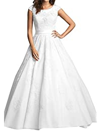 White Modest A-Line Jewel Floor length Bridal Gowns with Cap Sleeves