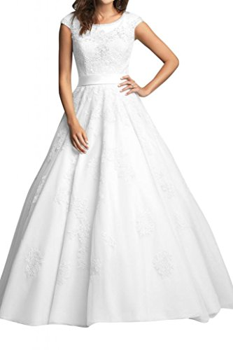 Angel Bride White Modest A-Line Jewel Floor length Bridal Gowns with Cap Sleeves- US Size 16