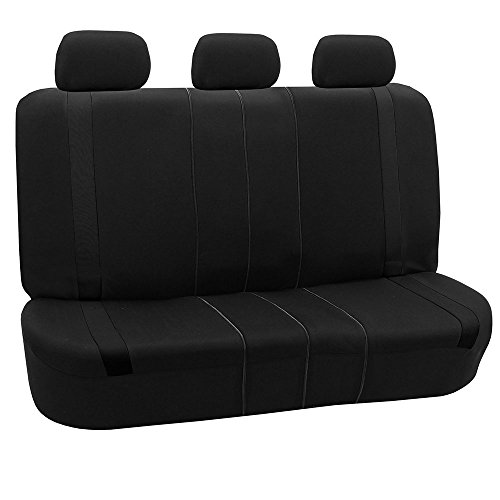 (FH GROUP FH-FB054013 Black Cosmopolitan Flat Cloth Seat Covers, Airbag compatible and Split Bench, Solid Black color -Fit Most Car, Truck, Suv, or Van)