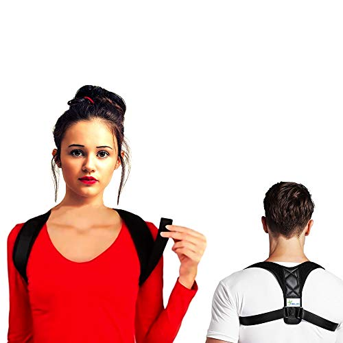(Back Posture Corrector for Women and Men - Upper Back Brace Clavicle Support for Shoulder -FDA Approved - Discreet Under Clothes - Effective Comfortable Adjustable Posture Strap- Neck Pain Relief)