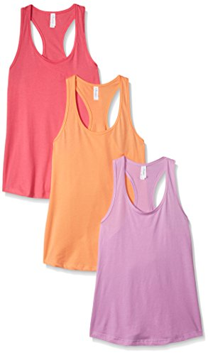 Clementine Apparel Women's Petite Plus Ideal Racerback Tank (Pack of 3), Hot Pink/Lilac/Light Orange, S - Cotton Womens Ring
