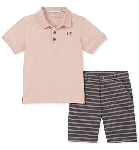 Calvin Klein Boys' Toddler 2 Pieces Polo Shorts Set, Gray, 3T