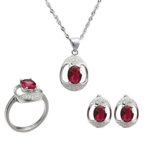 Aooaz Womens Jewelry Set, Red Oval CZ Crystal Hollow Retro Wedding Ring Necklace Earrings Eternal Love by Aooaz