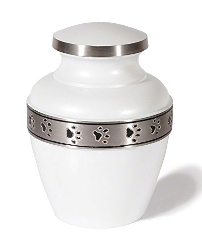 Avalon Paw Series Pet Urn (Small, Cloud White With Pewter Trim)