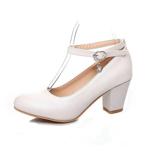 VogueZone009 Damen Weiches Material Schnalle Rund Zehe Mittler Absatz Rein Pumps Schuhe Weiß