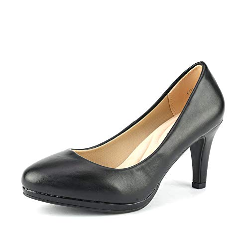 (DREAM PAIRS Women's City_CT Black PU New Classic Elegant Low Kitten Heel Party Dress Pumps Shoes Size 11 B(M))