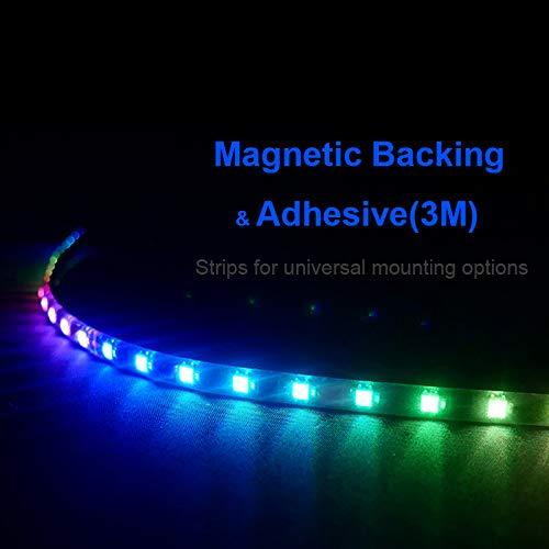 Anidees Extended Computer Magnetic LED Strip - 2PCS RGB LED Strip Light for ASUS Aura SYNC/MSI Mystic Sync/ASROCK Aura RGB/GIGABYTE RGB Fusion via 5V Addressable RGB Header on M/B