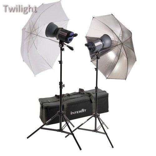 1000 Monolights - Interfit Stellar X 1000 Flash Two Monolight Umbrella Kit (120VAC)