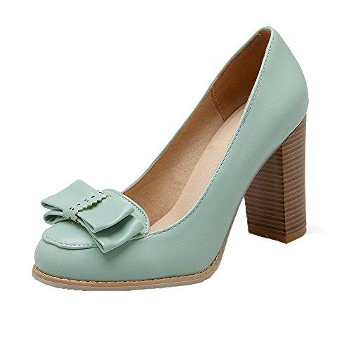 AgooLar Damen Rund Zehe Ziehen auf PU Rein Hoher Absatz Pumps Schuhe Blau