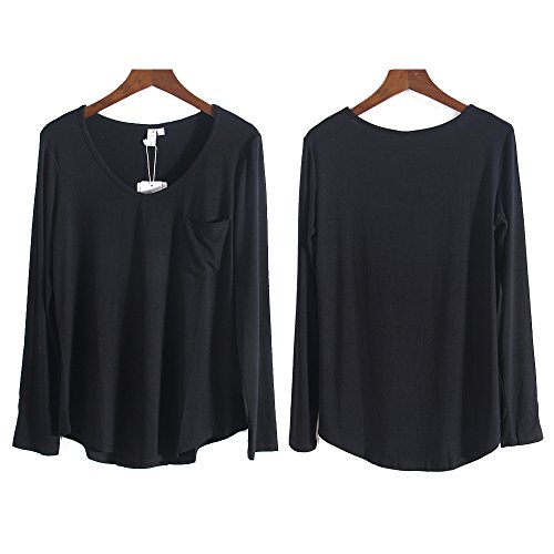 M&Z Basic Plus Size Pure Round Neck Long Sleeves T-Shirt for Woman Black-3XL