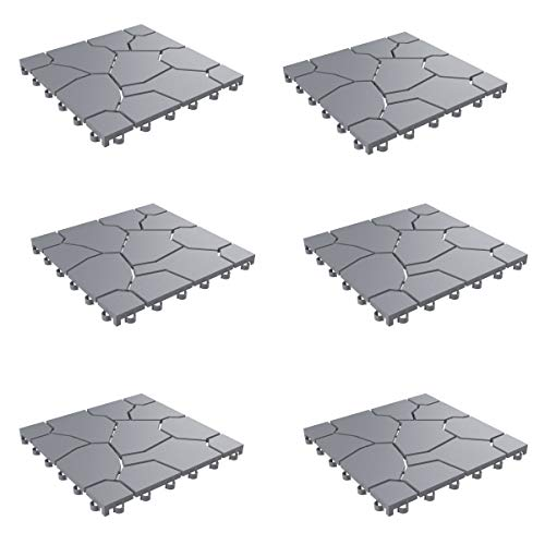 Pure Garden 50-LG1171 Patio and Deck Tiles - Interlocking Stone Look Outdoor Flooring Pavers Weather Resistant and Anti-Slip Square DIY Mat (Grey Set of 6),