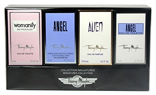Thierry Mugler Collection Miniatures Set for Women (Angel Eau de Parfum .17 Ounce, Womanity Eau de Parfum .17 Ounce, Angel Eau de Toilette .1 Ounce, Alien Eau de Parfum .2 Ounce) - 0.1 Ounce Miniature