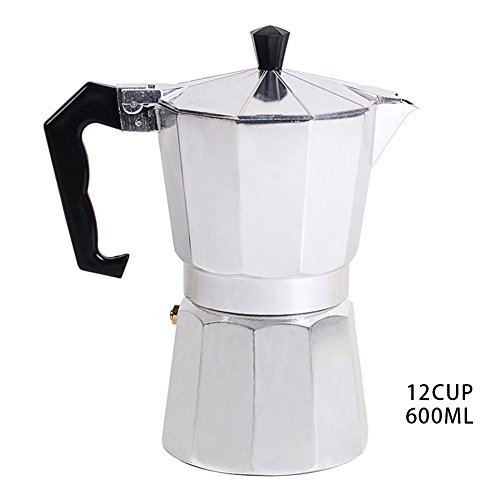Stovetop Espresso Maker Coffee Filter for Gas and Electric Aluminum (12-Cup)