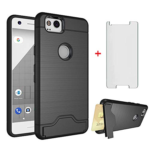 (Google Pixel 2 Wallet Phone Case with Tempered Glass Screen Protector Cell Accessories Credit Card Holder Slot Stand Kickstand Hybrid Rugged Protective Hard Cover for Pixel2 Pixle Two G011A Women Men)
