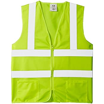 TR Industrial TR88001-5PK OSHA Class 2 Zipper Knitted Safety Vest (5 Pack), Large, Neon Yellow