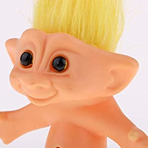 Cuitan Yellow Color 10cm Nude Lucky Troll Doll Mini Action Figures Toy for Cake Toppers Dollhouse Decor Kids Birthday…