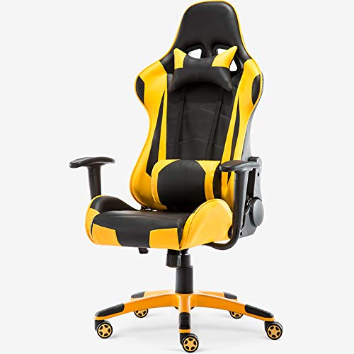 Yalla Office Adjustable PU Leather Gaming Chair - PC Computer Chair for Gaming, Office or Students, Ergonomic Back Lumbar Support, Adjustable Armrest (Black&Yellow, No Footrest)