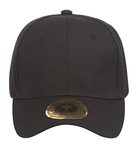 Baseball Logo Hat Adjustable (TOP HEADWEAR Adjustable Baseball Structured Cap Hat, Black)