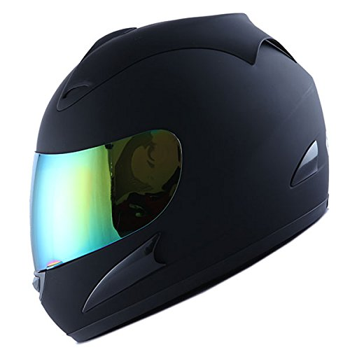 WOW Motorcycle Full Face Helmet Street Bike Matt Black, Size XL (23.2/23.6 Inch) ()