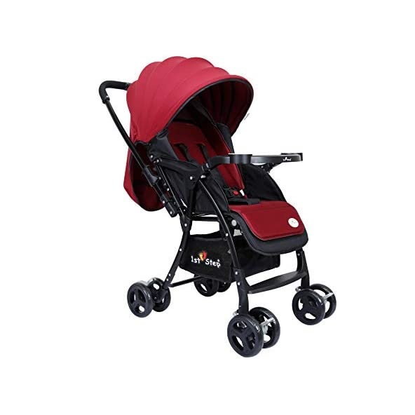 1st Step Baby Pram Cum Stroller – 5 Point Safety Harness/Infinitely Reclining and Cushioned Seat/Reversible Handle/Front Swivel Wheels – Black & Red
