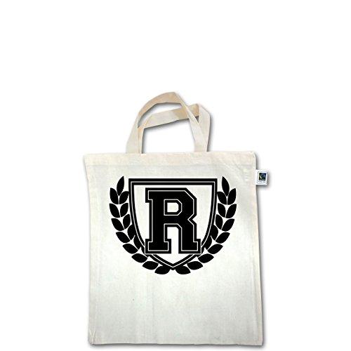 Anfangsbuchstaben - R Collegestyle - Unisize - Natural - XT500 - Fairtrade Henkeltasche / Jutebeutel mit kurzen Henkeln aus Bio-Baumwolle