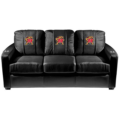XZipit College Silver Sofa with Maryland Terrapins Logo Panel, Black