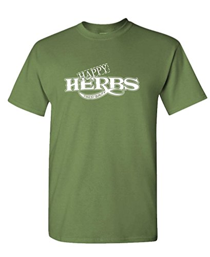 Happy Herbs Finest Quality Funny Retro   Mens Cotton Tee  2Xl  Military