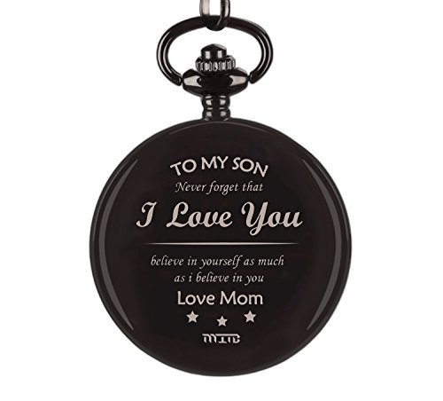 """Pocket Watch, To My Son Pocket Watch From Mom, Mother Son Pocket Watch, """" To My Son - Love Mom"""" To Son From Mother Birthday Present, Xmas Present Pocket Watch For Son"""