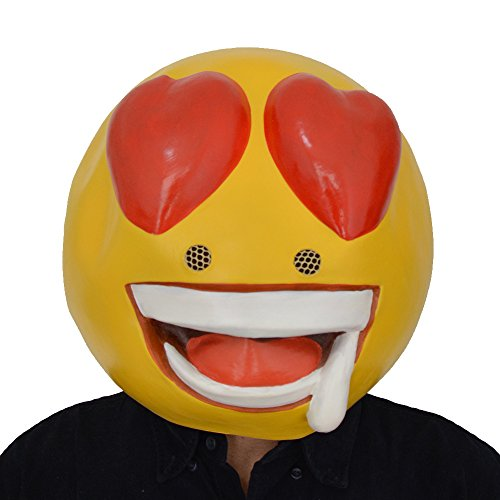 Funny Halloween Mens Ideas Costume Homemade (Amazlab Emoji Heart Eye Loving Mask for Costume Parties Decorations, Party Supplies, Party)