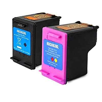 Arthur Imaging Remanufactured Ink Cartridge Replacement for HP 63XL with Ink Level Display Indicator L0R46AN F6U61AN F6U62AN F6U63AN F6U64AN (1 Black, 1 Tri-Color), 2-Pack
