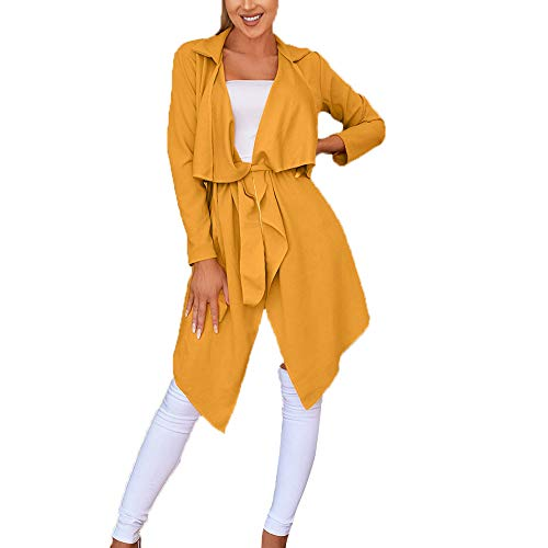 Creazrise Women's Open Front Long Sleeve Raw Cut Hem Waterfall Collar Irregular Trench Coat Cardigan with Belt (Yellow,2XL) from Creazrise Womens Coat