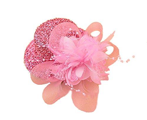 [Fascinator Hair Clip Head Hoop Sequin Paillette Glitter Bling Pillbox Hat A Pink] (Pink Top Hats)