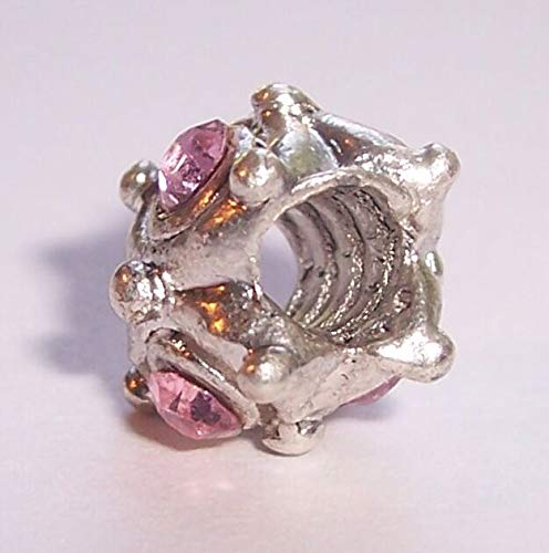 October Birthstone Pink Rhinestone Threaded Bead fits European Charm Bracelets id-815