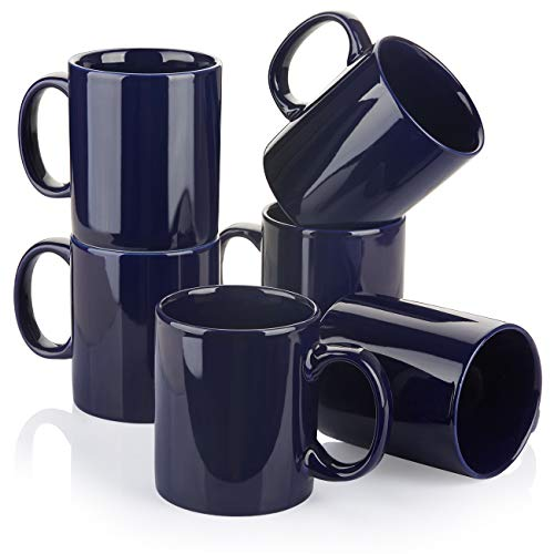 Y YHY Porcelain Coffee Mugs, 12 Ounces Mug Set for Coffee, Tea, Cocoa or DIY, Set of 6, Navy Blue