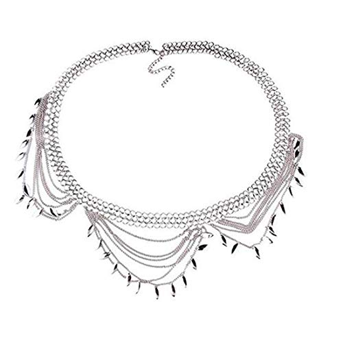 Andyle Dangle Coin Belt Dance Tassel Adjustable Waist Chain Belt Gypsy Bohemian for Women (Silver) ()