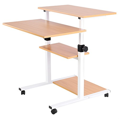 Computer Cart Desk, Mobile Height Adjustable Stand up Desk with Storage- Standing Mobile Computer Work Station Laptop Desk Adjustable Height Rolling Presentation Cart (Wood Color) by Yosooo