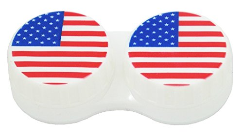 Represent Your Vision USA Flag Design Contact Lens Case 4th of July red white & blue american patriotic print eyewear glasses