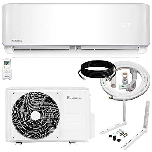 Klimaire 12,000 BTU KSIV 19 SEER Ductless Mini-Split Inverter Air Conditioner Heat Pump System with 15-ft Installation Kit 115V (Mini Split Ductless Heat Pump)
