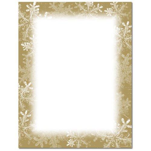 gold snowflake border christmas holiday computer printer paper 150 sheets